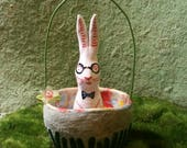 Ceramic White Bunny Rabbit with Glasses Basket for Spring Easter handmade Sharon Bloom Designs