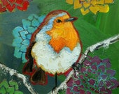 Bird painting 279 Robin 12x12 inch portrait original oil painting by Roz