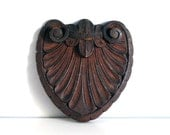 Carved Wood Pediment, Mahogany Crest, Architectural Salvage, Rustic Decor, Vintage Wall Hanging, Assemblage Supplies, Hand Carved Wood