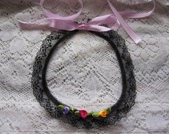 Victorian Choker ~ Rose Choker ~ Flower Choker Necklace ~ Black Choker Lace Choker ~ Pink Necklace ~ Gothic Choker ~ Gift for Sister, Women