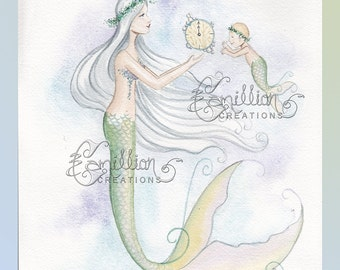 Passing Time Mermaid & Baby Original Watercolor Painting by Camille Grimshaw