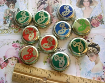 Lot Beer Bottle Caps Jewelry Supplies Brooklyn Beer Letter B Initial 10pc Bronze Gold Metal Mixed Media Art Recycled Upcycled
