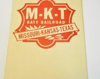 Katy Railroad Cardstock Ticket Window Sign  Katy Railroad Sign  Missouri-Kansas-Texas MKT Katy Railroad Window Sign