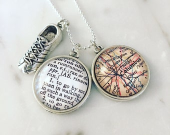 Columbus Marathon Map Charm Necklace - Marathoner - Runner - Marathon Training - Cap City Marathon - Ohio