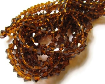 50 6mm Brown Crystal Bicone Beads Faceted Bicone Beads Full Strand Jewelry Making Accent Beads Spacer Beads Clear Brown Crystal Glass Beads