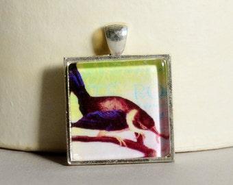Vintage Bird Collage Pendant - Bird Pendant