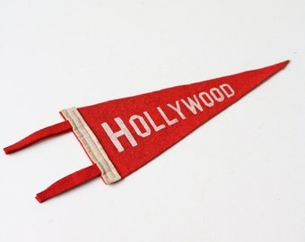 Vintage Hollywood Pennant, Red and White vintage pennant, California