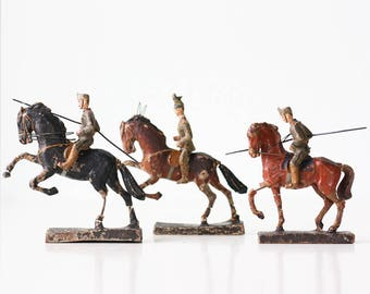 Vintage Horses and Soldiers, LINEOL, Set of 3