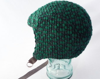 Charcoal Gray Wool Aviator Hat with Chunky Emerald Green Woven Nubs - Womens, Kids Hat, Winter Hat, Warm Hat, Winter Cycling, Gift for Her
