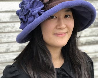 Edwardian Suffragette Hat- Wide Brim- Periwinkle and Brown- Margaret