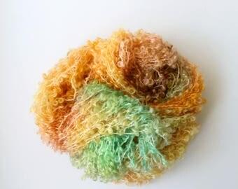 vineyard .. 12 ply or chunky , hand dyed boucle loopy wool yarn, soft kid mohair merino, knitting crochet weaving yarn, hand dyed