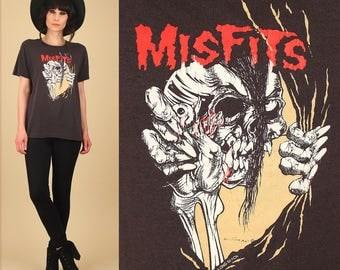 ViNtAgE The Misfits T-Shirt 80's Pushead Print Threadbare Thrashed PUNK Rock Concert Tour Black T Shirt Large L