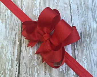 Red Headband Red Baby Headband Double Layered Infant Toddler Bowband Red Baby Headband Red Headband Baby Headband Pink Headband Bow