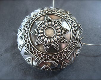 Huge Bali Focal Solid Sterling Silver 1 3/4 inches double sided Pendant