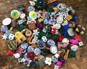 5 DOLLAR vintage button Lot!  Destash, plastic buttons, repair, repurpose, recycle, upcycle, assemblage treasures, kitten, christmas, food