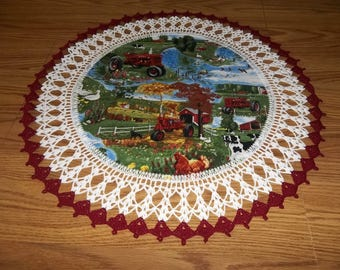 Farmall Crochet Doily Lace  Red Tractors Doily Table Topper Centerpiece Handmade Gift Crocheted Edge Fabric Center Lace Doilies