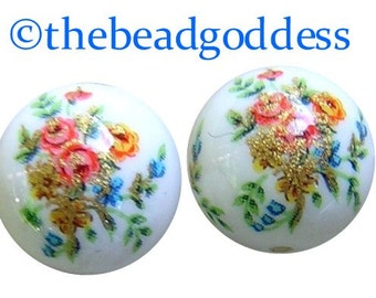 CLEARANCE Pair JAPANESE TENSHA Beads Triple Rose Bouquets on White 12mm