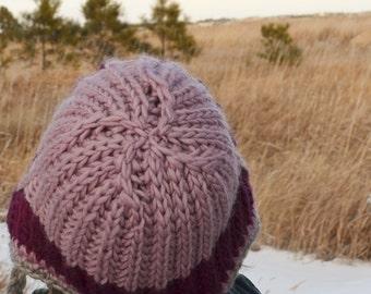Fuchsia Purple Fade Brioche Stitch Bonnet - handknit earflap/trapper hat in 100% wool - deep fuchsia, pale purple, grey, ombre, boho hat