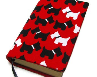 Book cover, STANDARD SIZE paperback book cover, mass market size, book protector, cotton, padded cover, Scotties
