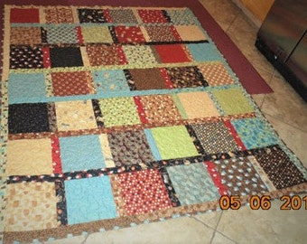 Large Coffee Barista French Press Espresso Patchwork Quilt throw lap fall Cotton