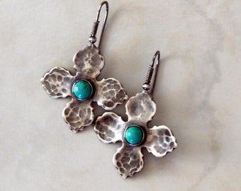 Turquoise Earrings Sterling Silver Boho Earrings Turquoise Jewelry Gemstone Earrings Boho Jewelry Gift For Her Artisan Earrings