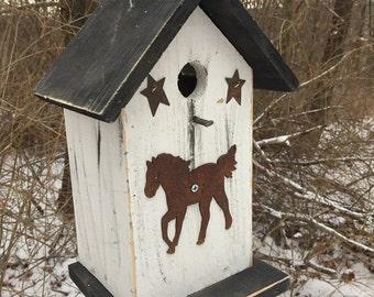 Primitive Birdhouse Rusty Horse Cutout with Two Rusty Stars Unique