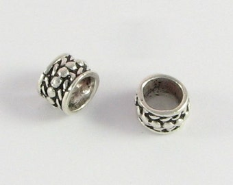 Rope and Dots Ring Bead, Large Hole Bead, Rondelle Beads Bali Sterling Silver 9mm x 6mm with 6mm hole (2 beads)