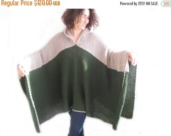 20% WINTER SALE Plus Size Over Size Mohair Poncho - Pelerine with Hood Green - Beige
