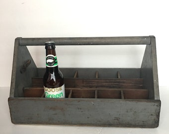 Wooden Tool Caddy Trug Vintage Large Size 11 Compartment Beer Caddy Plant Holder Organizing Storage Rustic Toolshed