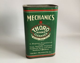 Vintage Hand Soap Tin Thoro Hand Cleanser Morris Illinois Mechanics Shop Display Canister