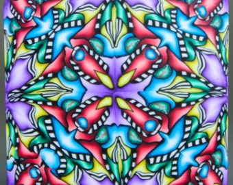 Polymer Clay Square Kaleidoscope Cane -'Grand Adventure' (29dd)