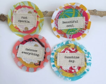 Fabric Scrap Word Flowers, Fabric Affirmation Inspiration word patch, Scrapbook Flowers, Embellishments, Fabric Scrapbook Words, Q= 4, No.15