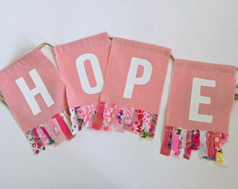 hope hand painted fabric scrap pink flags, banner, pennant, garland, bunting - Fabric scrap pink hope prayer flags, party, photo prop flags