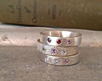 Brushed Finish Family Ring, Silver Birthstone Band, Flush Set Family Band, Mothers Day Gift