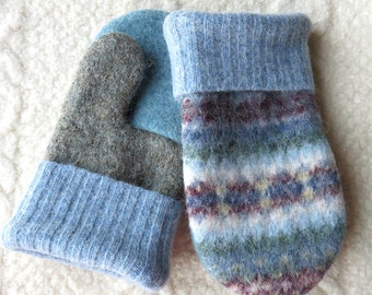 Upcycled Mittens for Kids, Felted Sweater Wool Mittens in Blues
