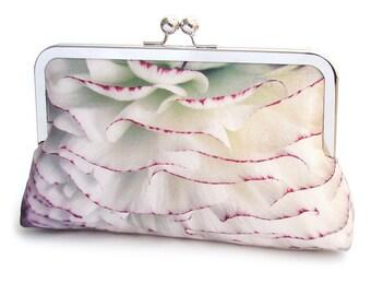 PomPom petals, white flower clutch bag, silk purse, wedding purse, bridesmaid, bridal bag, something blue, frilly ranunculus