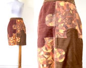 SUMMER SALE / 20% off Vintage 80s 90s MOSCHINO Jeans Patchwork Puzzle Piece Pencil Skirt (size medium, large)