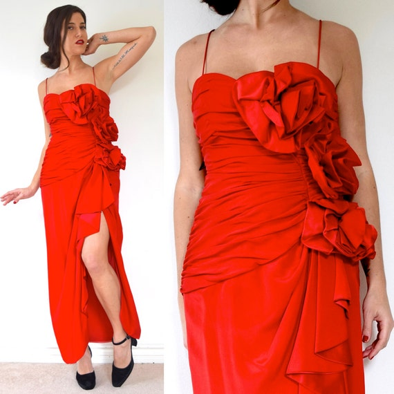 Vintage 80s does 50s Fred Hayman Scarlet Red Ruched Bodice with 3D Roses Evening Gown (size medium)