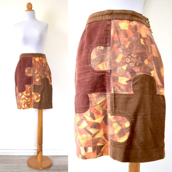 Vintage 80s 90s MOSCHINO Jeans Patchwork Puzzle Piece Pencil Skirt (size medium, large)