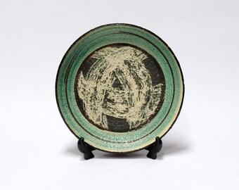 WIM FIEGE Dutch Modernist Ceramic Plate - Mid Century Modern Studio Art Pottery