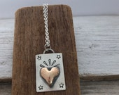 Reserved for Aimee- bronze heart with stampings