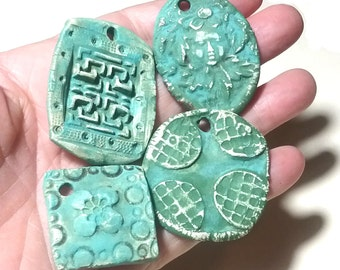 Ceramic Pendants 4 Large Rustic Ancient Stoneware Fantasy Mix Magical Tribal Ethnic Celtic Mystical Metaphysical Textured Fairy Patina