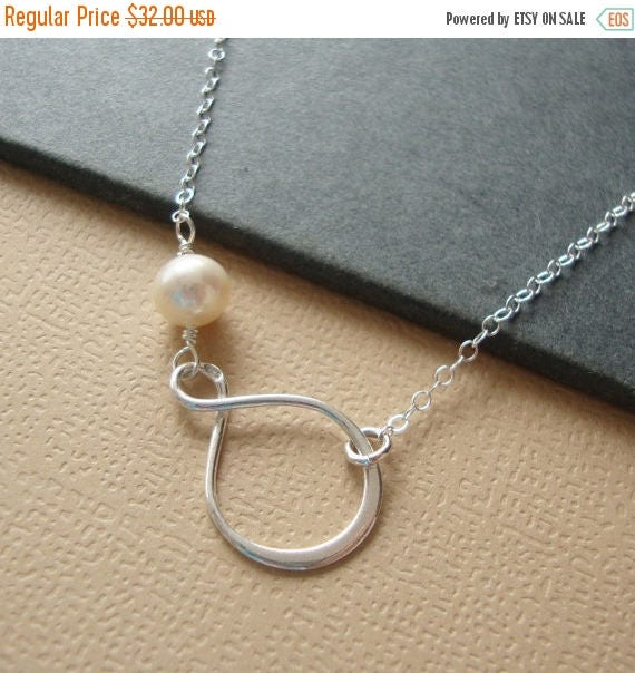 MOTHERS DAY SALE Infinity Necklace Pearl Necklace - Lovely Bridesmaids Gifts, Maid of Honor, Mother of the Bride, all Sterling Silver, Pearl