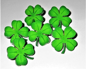 Shamrock Push Pins, St. Patrick's Day Decor, Irish Themed Push Pins for Bulletin Board, Green Shamrock Pins, Good Luck Pins, Memo Board Pins
