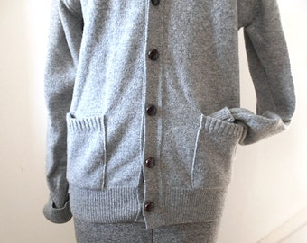 Vtg grey LL Bean cardigan lambswool - Made in U.S.A Freeport, Maine - women medium or men small