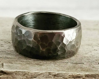 Darkened Oxidized Sterling Silver Wide Wedding Band, Gunmetal Look, Unisex Rustic Mens Or Womens Hammered Silver Ring Band
