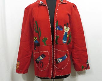 Vintage 1940s Jacket Southwest Coat Clutch  Rockabilly Wool Felt Hand Embroidery Western 40s Tourist