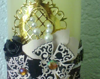 Decorated electronic battery operated wax candle