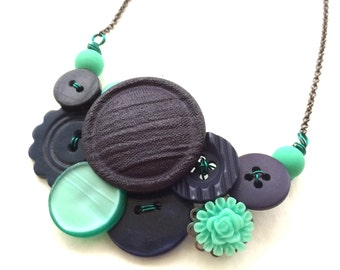 Navy Blue and Aqua Vintage Button Necklace