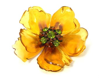 1960s Flower Power Brooch, Rhinestone Center, Cellulose Acetate Golden Yellow Petals, 3 Inches, Vintage Mid Century Jewelry, Gift for Her